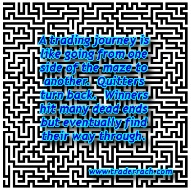 A Trading Journey is Like Going From One Side of the Maze to Another. Quitters Turn Back. Winners Hit Many Dead Ends But Eventually Find Their Way Through - TraderRach
